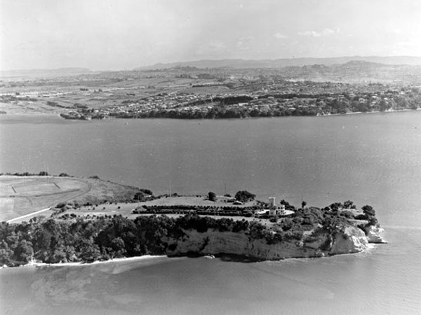 Musick Point with radio station building and masts, looking to Karaka Bay and Glendowie, Auckland City, 20 March 1956