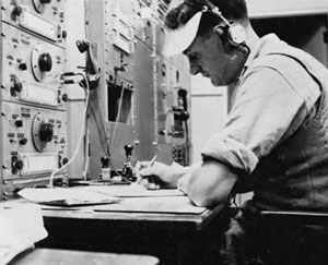 Radio operator Nobby Clark at Musick Point in 1946