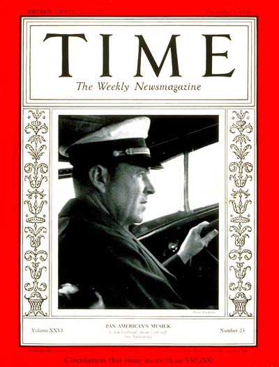 Captain Edwin Musick on the cover of Time Magazine, 2 December 1935