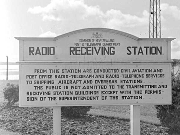Sign at the entrance to the Musick Memorial Radio Station, 29 August 1946