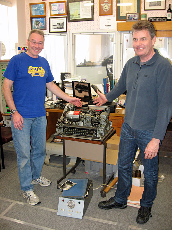 Dave ZL1ADR and Grant ZL1GKB with Dave's Creed 53 teleprinter