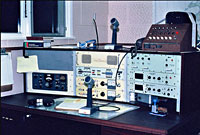 The 2182 kHz radio telephone desk at ZLC Chatham Islands Radio, c1982.
