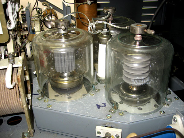 The three final amplifier valves in the Dansk transmitter