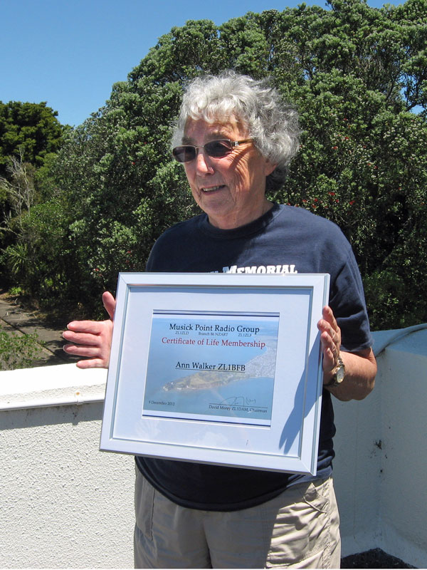 Ann Walker ZL1BFB was made an honourary Life Member of the Musick Point Radio Group.