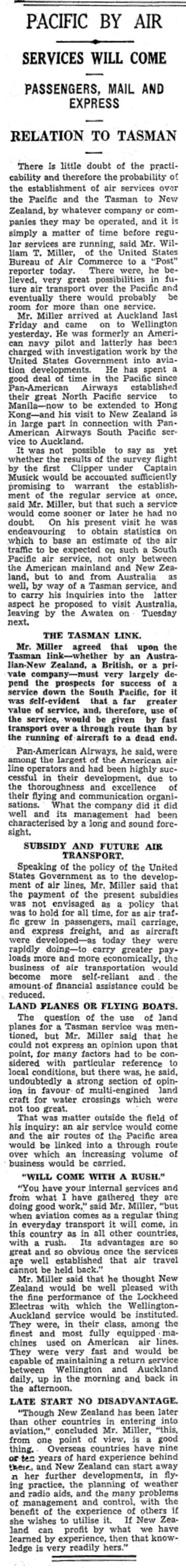 Pacific Air Service Will Come, Evening Post, 22 April 1937