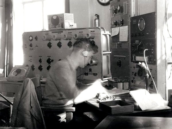Radio operator EW Ritchie, working at the Musick Point Air Radio Station, 29 August 1946.