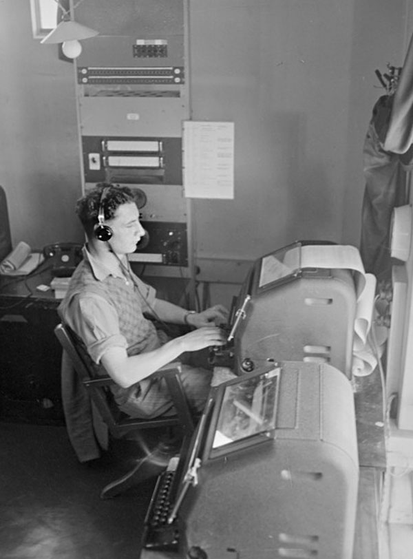 BV Richards sends a telegraph message from Musick Memorial Radio Station, 29 August 1946