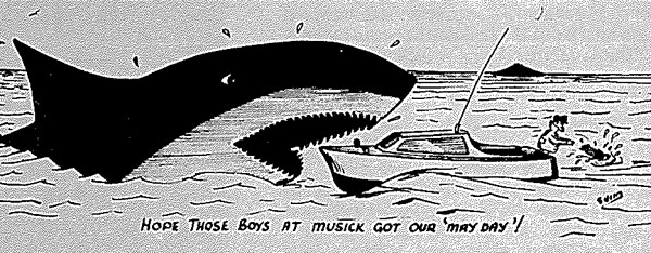 Post Office Magazine cartoon: 'I hope those boys at Musick got our May Day'