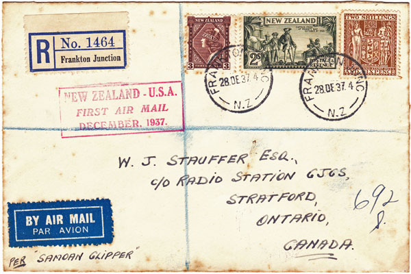 One of the first pieces of mail to travel by air from New Zealand to the USA in 1937