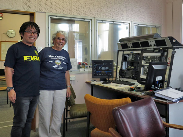 Hiro and Ann in the West Control Room at Musick Memorial Station, which features an Icom IC-7700 transceiver