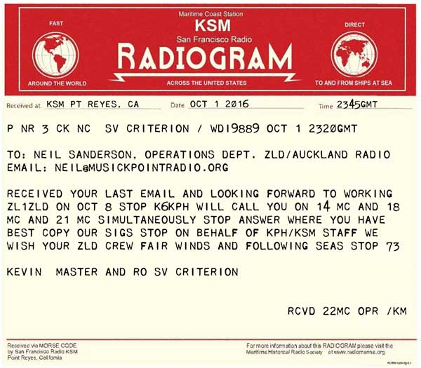 Radiogram from Kevin aboard yacht Criterion relayed by KSM Radio