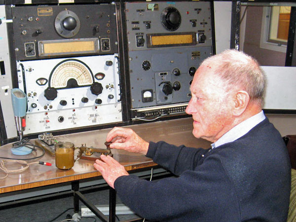 Former coastwatcher John Jones visiting Musick Memorial Radio Station in 2010