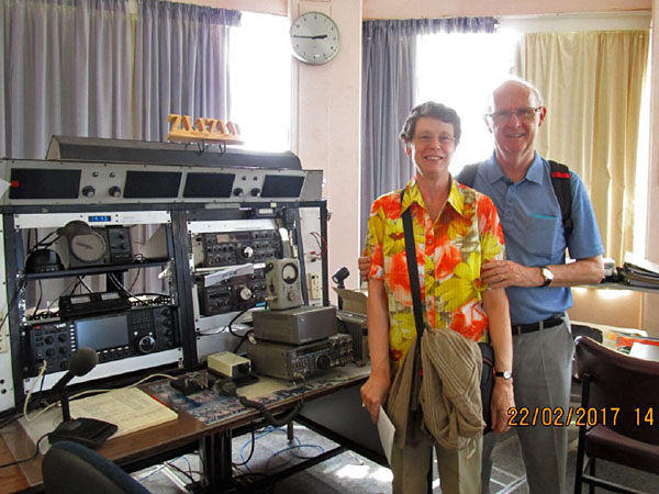 Josef HB9CIC and his wife Ruth in the west operating room at Musick Memorial Radio Station.