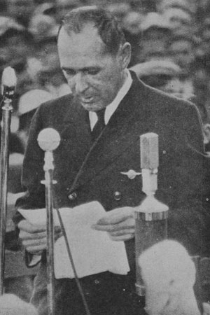 The commander of the Clipper, Captain EC Musick, replying to the speeches of welcome