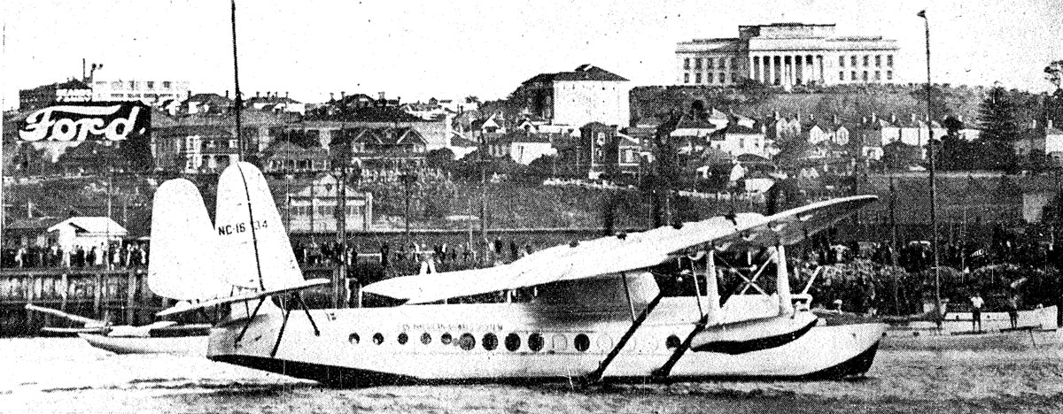 Pan American Clipper approaches her moorings after landing in Auckland, 30 March 1937
