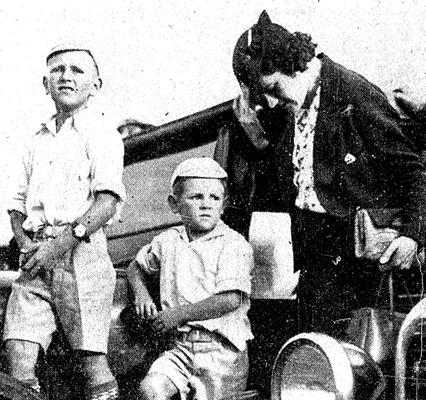 Young boys waiting in Auckland for their first glimpse of the Samoan Clipper