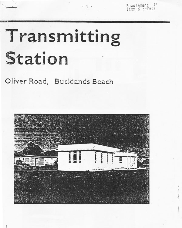 Cover of the 1994 proposal to save the Oliver Road transmitter building