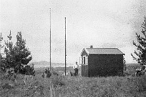 Crown Hill receiving station, with Rangitoto Island in the distance