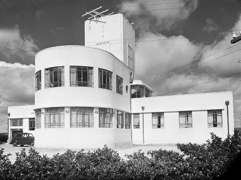 Musick Memorial Radio Station, seen from the northwest, 29 Aug 1946.