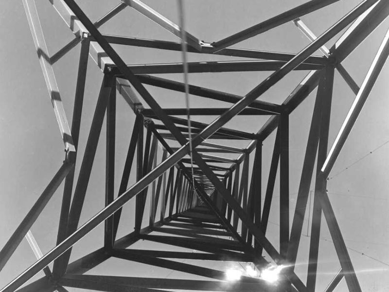 Looking up one of the transmission towers at Auckland Radio