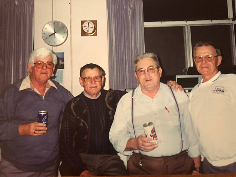 Maurie Searle, John Milne, Chuck McLeod and Bernie Smith at closure of Auckland Radio ZLD