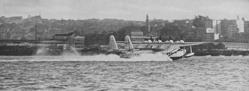 Pan American Clipper landing in Auckland, March 1937