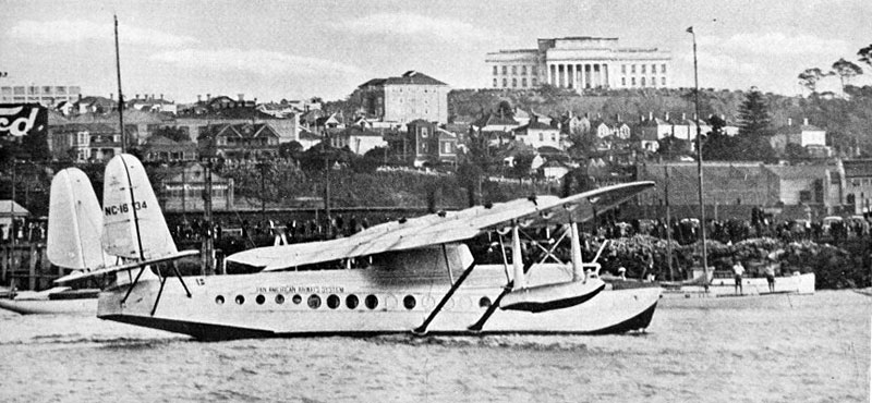 Pan American Clipper arriving in Auckland, March 1937