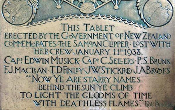 Plaque commemorating Edwin Musick and crew of the Samoan Clipper