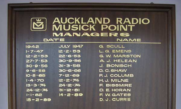 Managers of Auckland Radio. This plaque hangs in the Musick Memorial Radio Station.