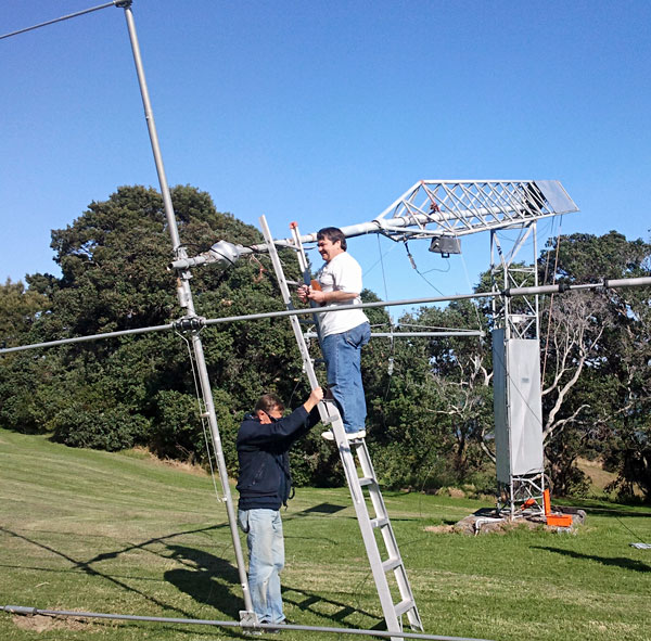 Removing the old rotator from the West Tower at Musick Point Radio ZL1ZLD