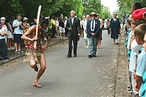 Maori warrior at Powhiri