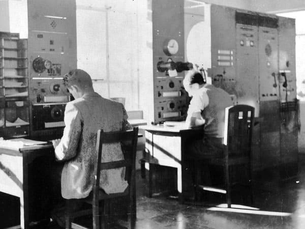 Two operators at Musick Memorial Radio Station in 1946