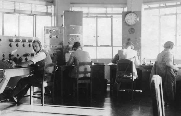 Radio operators at Musick Memorial Radio Station in 1947