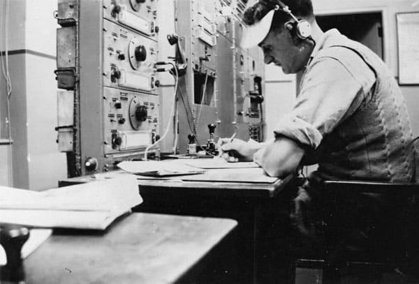 Auckland Radio ZLD operator Nobby Clarke in 1946.