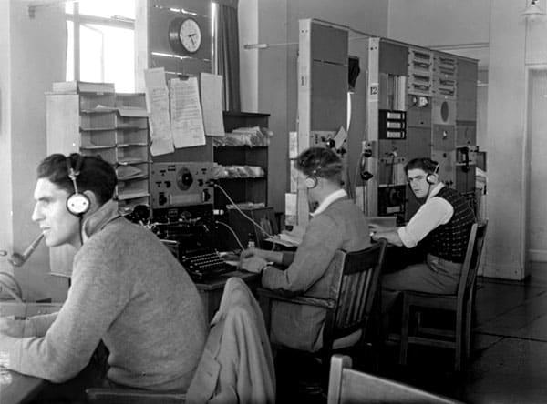 R McVissen, F Fleetwood and Lloyd 'Cookie' Douglas at Musick Memorial Radio Station, 29 August 1946