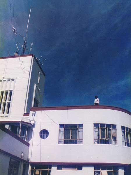 Working on antennas atop the Musick Memorial Radio station, 23 January 2000