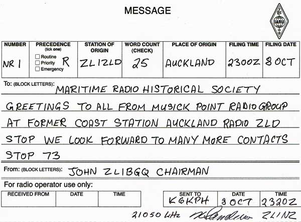 Radiogram from Musick Point Radio Group to Maritime Radio Historical Society