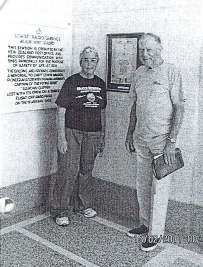 Club secretary Ann Walker ZL1TRH with John Jones at Musick Memorial Radio Station,  13 Feb 2011