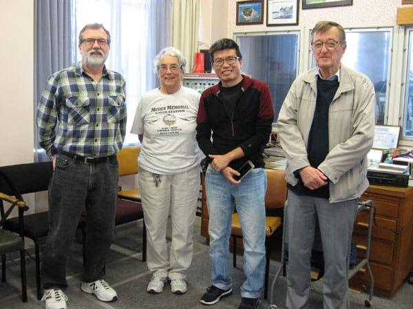 Neil ZL1NZ, Ann ZL1BFB, Dennis 9W8DEN, and Pete ZL1AAM at Musick Memorial Radio Station, 28 May 2017