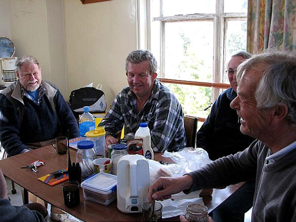 Some of the Last of the Summer Wine group at Musick Memorial Radio Station. L-R: Ian, Mark, David, Paul