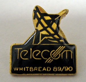 The lapel pin for the 1989-1990 Whitbread Race, which was supposed to feature a radio mast - not a sat ellite dish