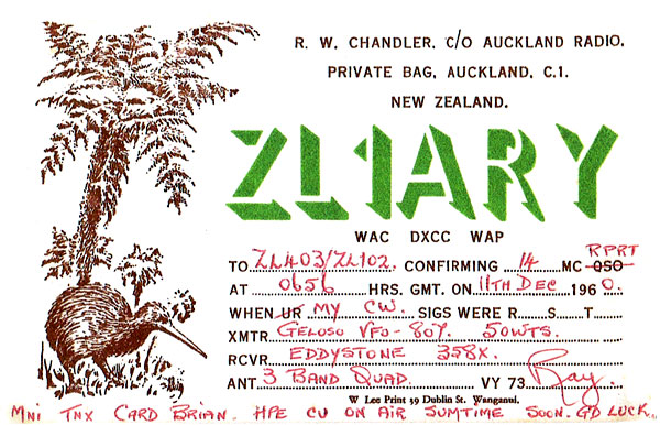 QSL card from ZL1ARY in December 1960