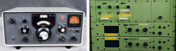 Collins 51S-1 (left) and Codan fixed frequency receivers with remote clarifiers