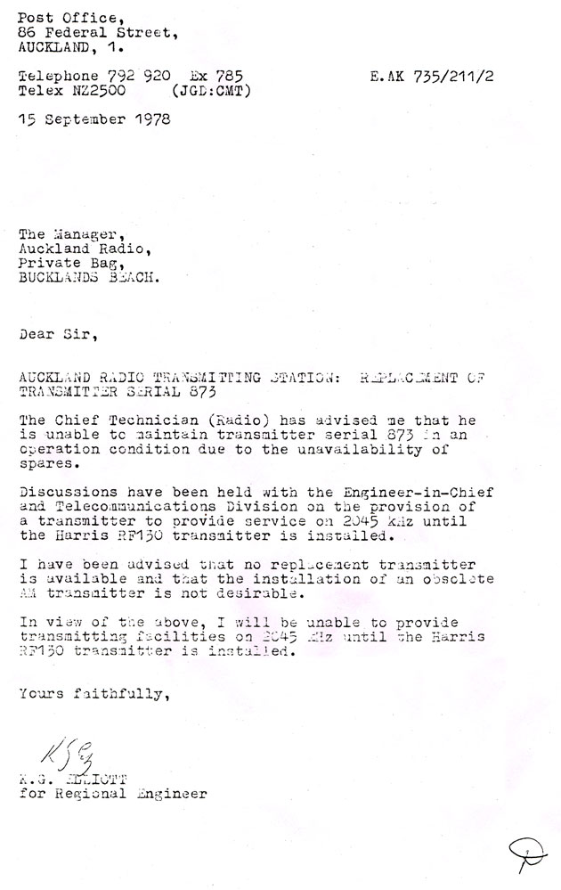 letter to the manager of Auckland Radio