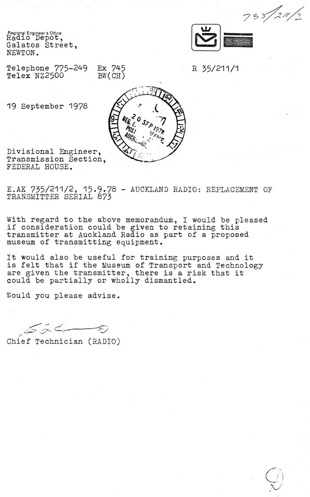 letter from Chief Technician (Radio)