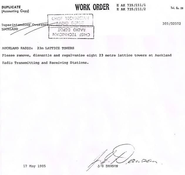 work order to regalvanise Auckland Radio towers