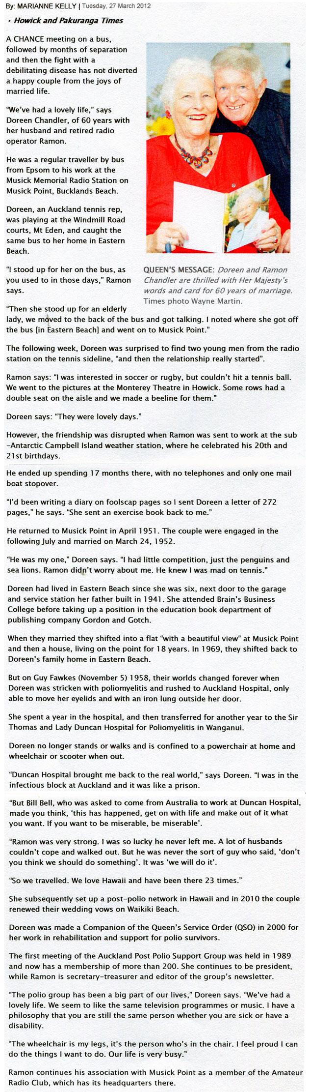 Raymon and Doreen Chandler celebrate 60th anniversary