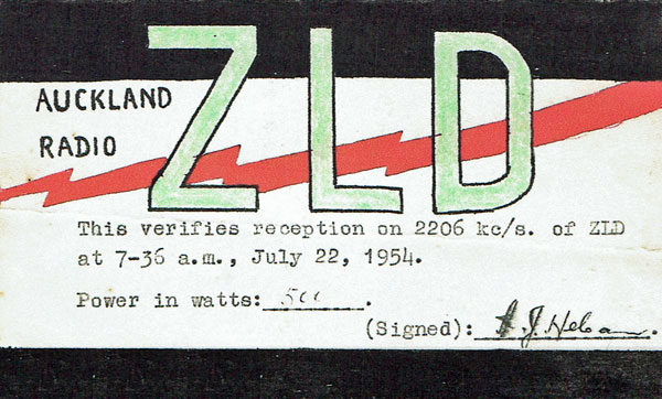 QSL card confirming reception of Auckland Radio ZLD on 22 July 1954