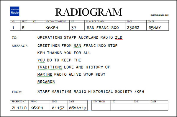 Radiogram from KPH