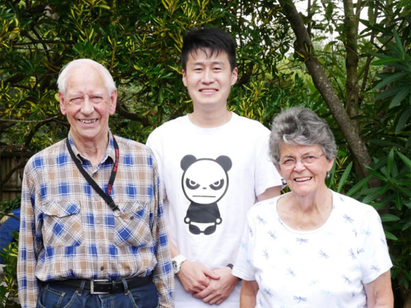 Sichao ZL1CH after passing his New Zealand amateur radio exam, with examiners Ralph ZL1AG and Rosemary ZL1RO
